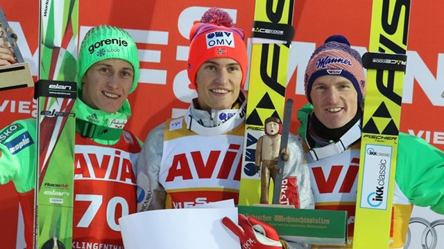 Peter Prevc, Daniel Andre Tande et Severin Freund (photo : FIS)