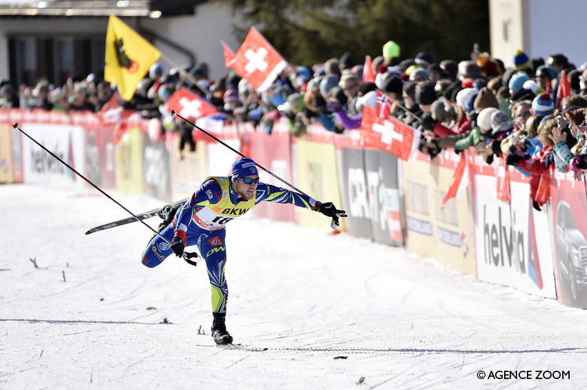 DAVOS, SWITZERLAND - DECEMBER 13: Baptiste Gros of France takes 2nd place during the FIS Nordic World Cup Men's and Women's Cross Country Sprint on December 13, 2015 in Davos, Switzerland. (Photo by Vianney Thibaut/Agence Zoom)