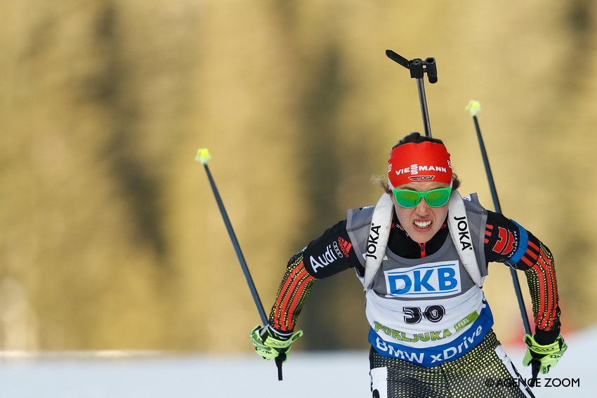 POKLJUKA, SLOVENIA - DECEMBER 18: @title@ during the IBU Biathlon World Cup Women's Sprint on December 18, 2015 in Pokljuka, Slovenia. (Photo by @photographer@)