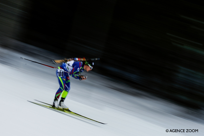 POKLJUKA, SLOVENIA - DECEMBER 18: Celia Aymonier of France in action during the IBU Biathlon World Cup Women's Sprint on December 18, 2015 in Pokljuka, Slovenia. (Photo by Stanko Gruden/Agence Zoom)