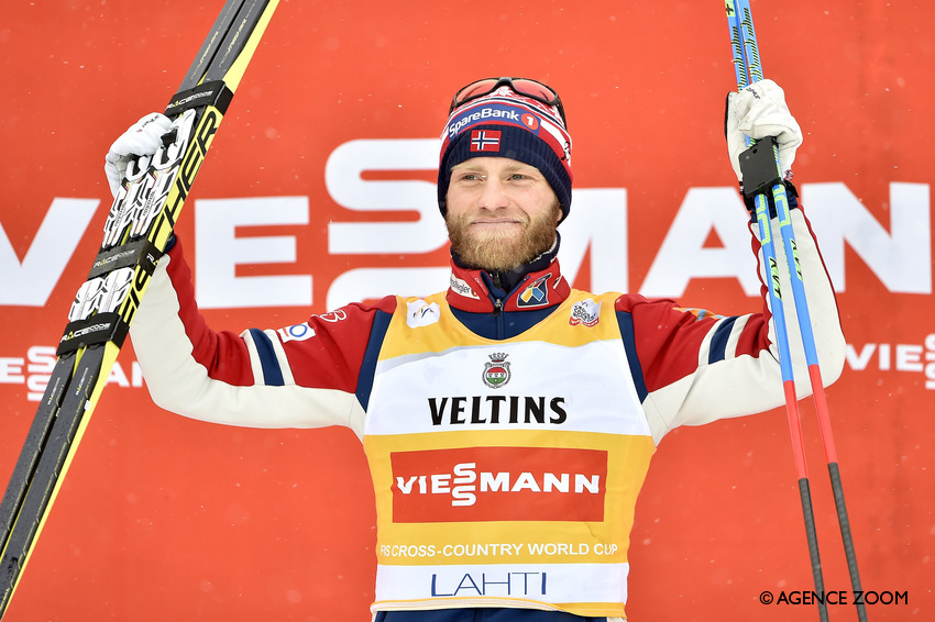 LAHTI, FINLAND - FEBRUARY 21: Martin Johnsrud Sundby of Norway takes 1st place during the FIS Nordic World Cup Men's and Women's Cross Country Skiathlon on February 21, 2016 in Lahti, Finland. (Photo by Vianney Thibaut/Agence Zoom)