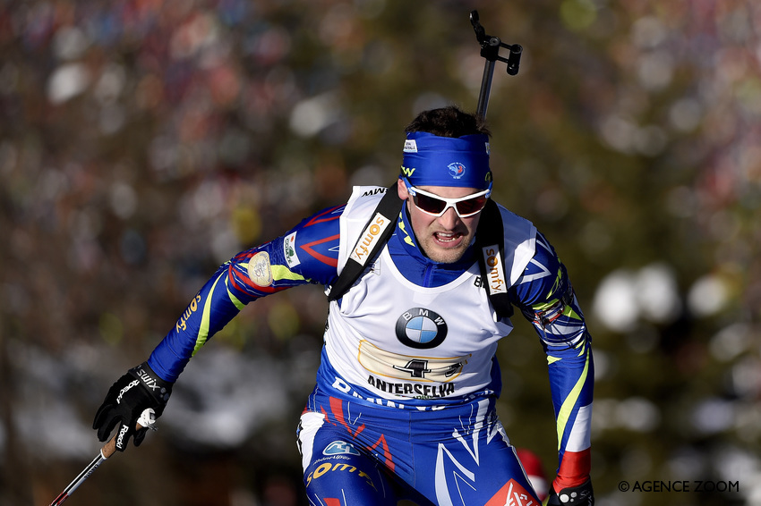 ANTHOLZ-ANTERSELVA, ITALY - JANUARY 24: Simon Desthieux of France competes during the IBU Biathlon World Cup Men's and Women's Relay on January 24, 2016 in Antholz-Anterselva, Italy. (Photo by Vianney Thibaut/Agence Zoom)
