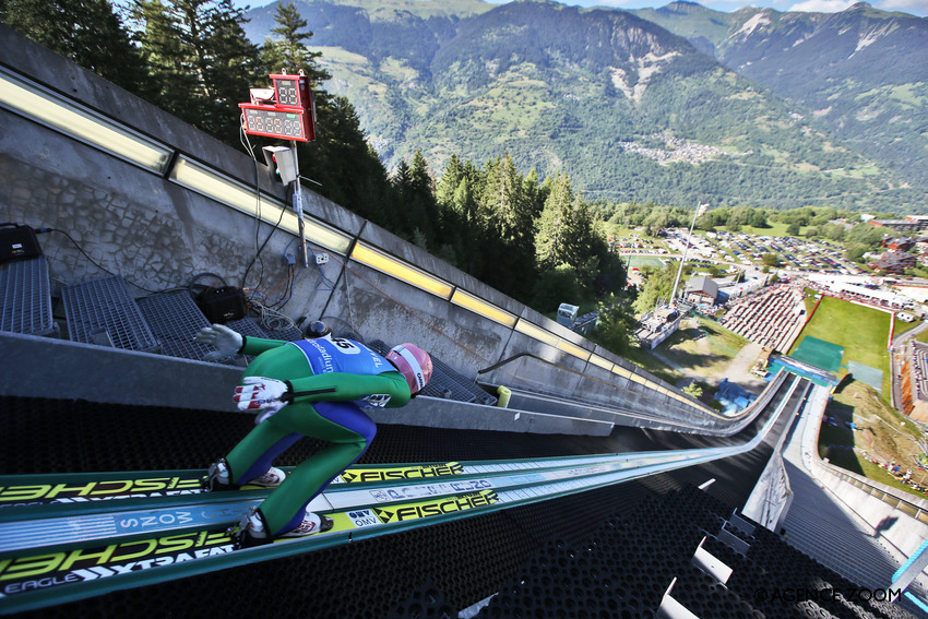 COURCHEVEL, FRANCE - JULY 16: Stefan Kraft of Austria takes 3rd place during the Finals of the FIS Grand Prix Ski Jumping 2016 on July 16, 2016 in Courchevel, France. (Photo by Alexis Boichard/Agence Zoom)