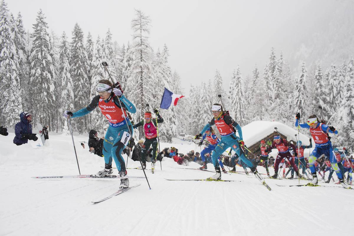 mass-start, biathlon, une, coupe du monde